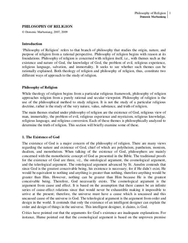 Philosophy of Religion 1 Domenic Marbaniang  PHILOSOPHY OF RELIGION © Domenic Marbaniang, 2007, 2009  Introduction 'Philos...