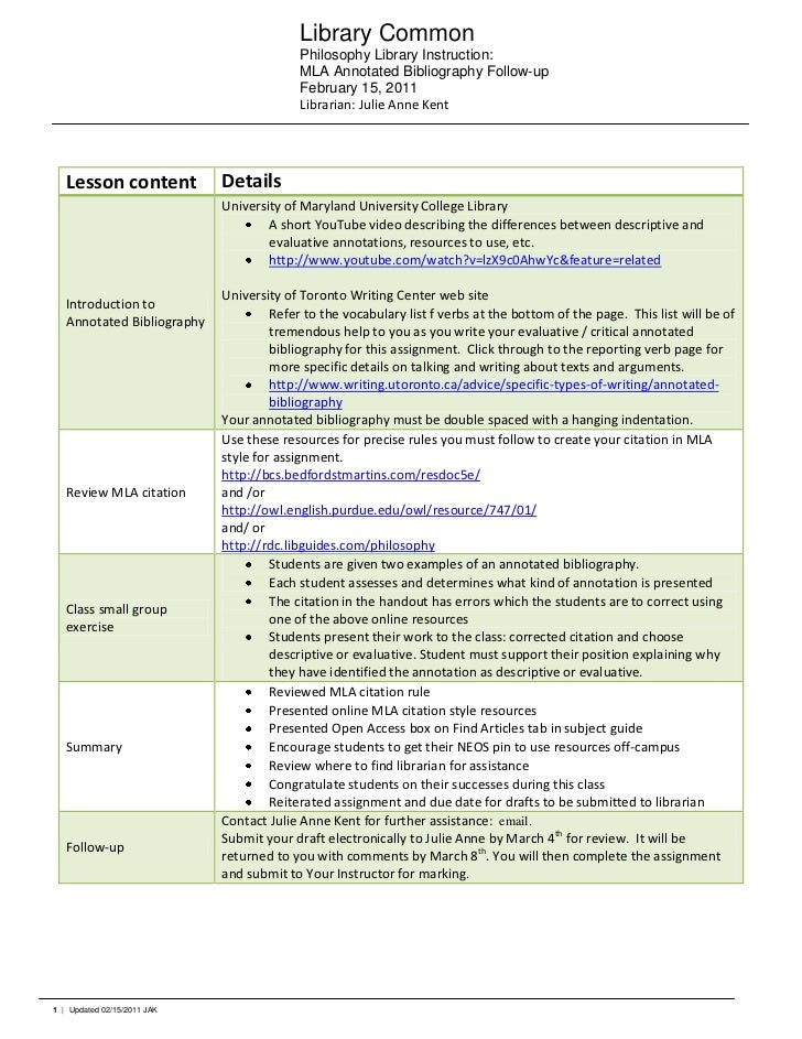 uoft writing centre annotated bibliography