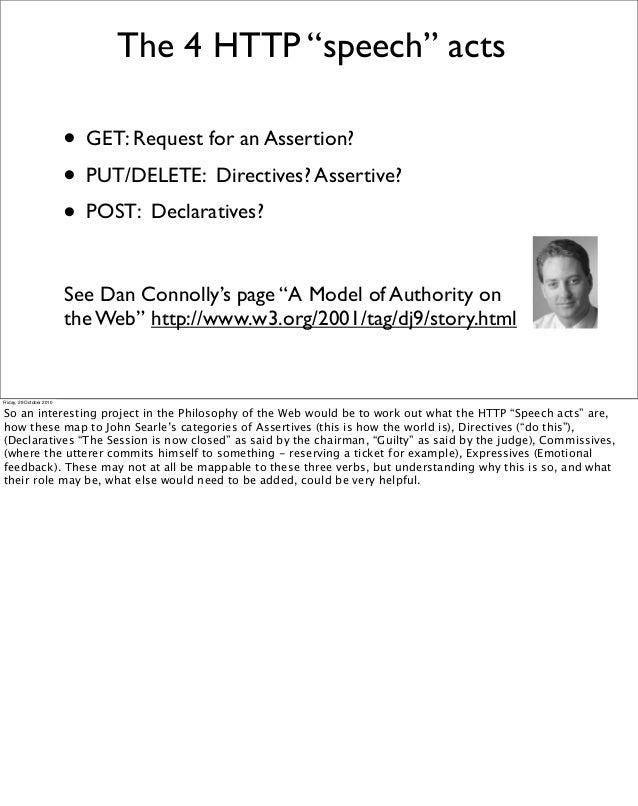 "The 4 HTTP ""speech"" acts • GET: Request for an Assertion? • PUT/DELETE: Directives? Assertive? • POST: Declaratives? See D..."