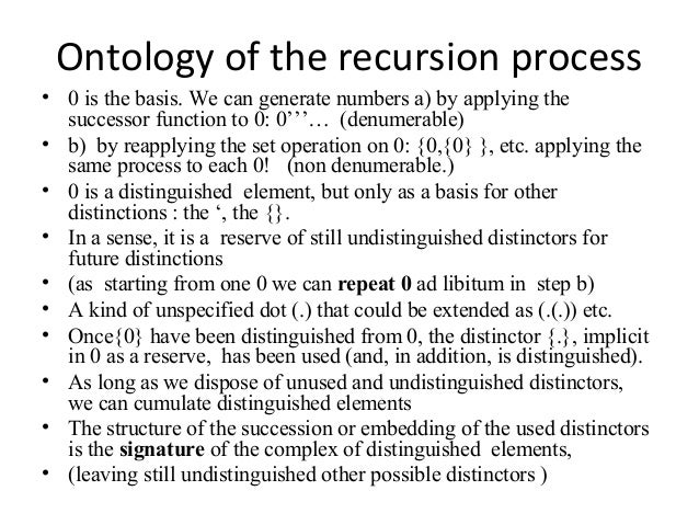 Ontology of the recursion process • 0 is the basis. We can generate numbers a) by applying the successor function to 0: 0'...