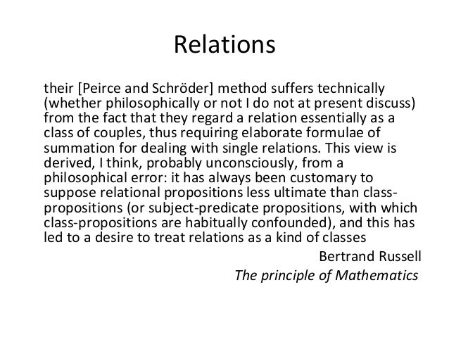 Relations their [Peirce and Schröder] method suffers technically (whether philosophically or not I do not at present discu...