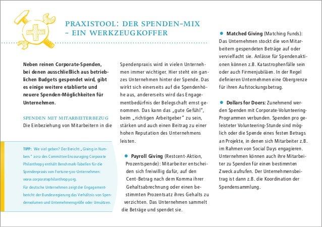 Praxistool: Der Spenden-Mix - ein Werkzeugkoffer Neben reinen Corporate-Spenden, bei denen ausschließlich aus betriebliche...