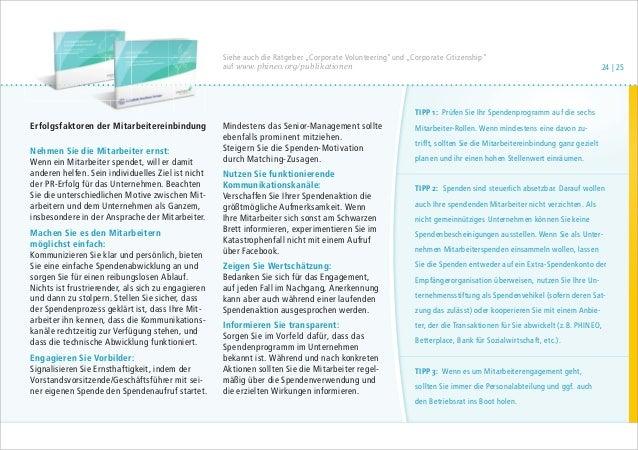 """Siehe auch die Ratgeber """"Corporate Volunteering""""und """"Corporate Citizenship"""" auf www.phineo.org/publikationen  Erfolgsfakto..."""