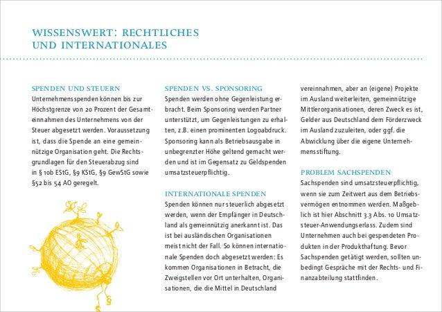 wissenswert: recHtlicHes und internationales spenden und steuern  Unternehmensspenden können bis zur Höchstgrenze von 20 P...