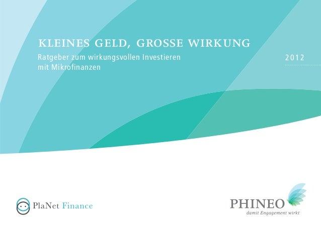 2012Ratgeber zum wirkungsvollen Investieren mit Mikrofinanzen kleines geld, grosse wirkung