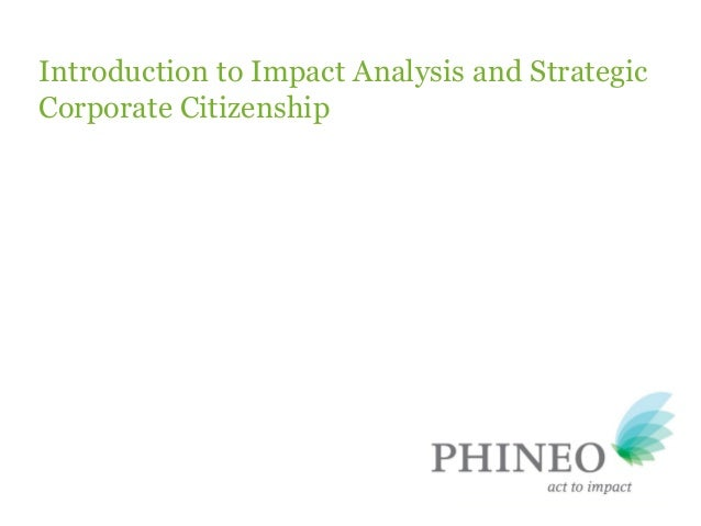 Introduction to Impact Analysis and Strategic Corporate Citizenship
