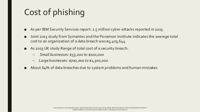 Cost of phishing ■ As per IBM Security Services report: 1.5 million cyber-attacks reported in 2013 ■ Joint 2013 study from...