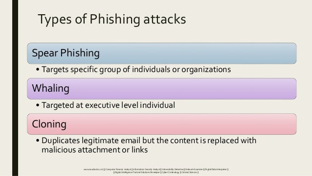 Types of Phishing attacks Spear Phishing • Targets specific group of individuals or organizations Whaling • Targeted at ex...