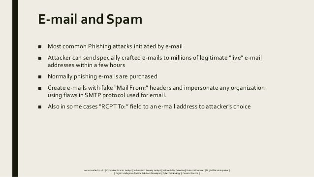 E-mail and Spam ■ Most common Phishing attacks initiated by e-mail ■ Attacker can send specially crafted e-mails to millio...