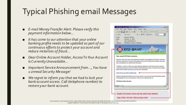 Typical Phishing email Messages ■ E-mail MoneyTransfer Alert: Please verify this payment information below… ■ It has come ...