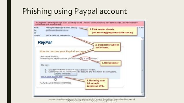 Phishing using Paypal account www.naushad.co.uk      Computer Forensic Analyst    Information Security Analyst    Vulnerab...