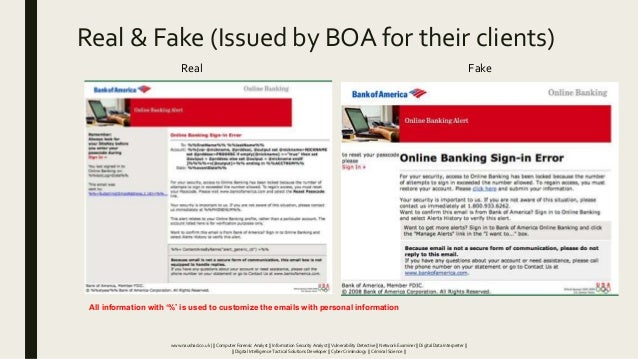 Real & Fake (Issued by BOA for their clients) Real Fake All information with '%' is used to customize the emails with pers...