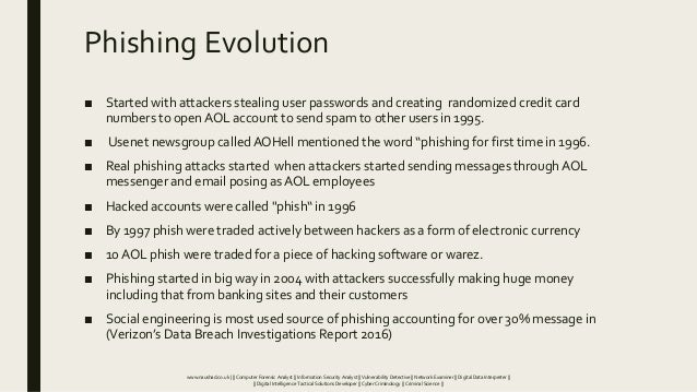 Phishing Evolution ■ Started with attackers stealing user passwords and creating randomized credit card numbers to open AO...