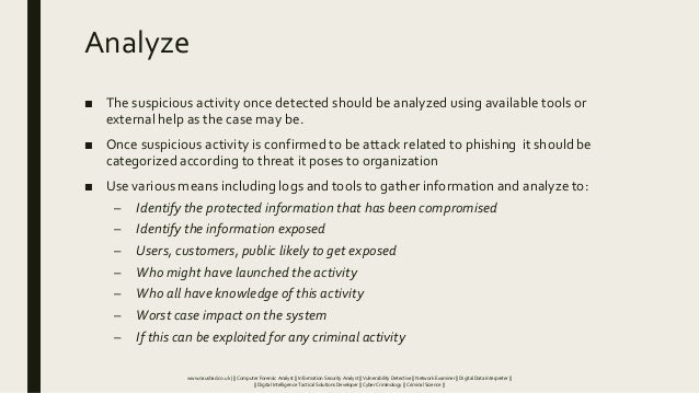 Analyze ■ The suspicious activity once detected should be analyzed using available tools or external help as the case may ...