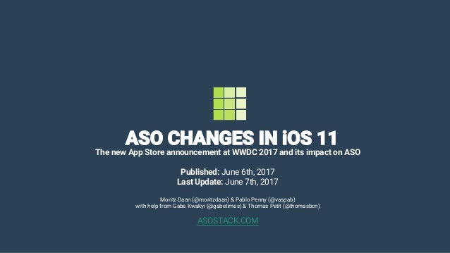 ASO CHANGES IN iOS 11 The new App Store announcement at WWDC 2017 and its impact on ASO Published: June 6th, 2017 Last Upd...