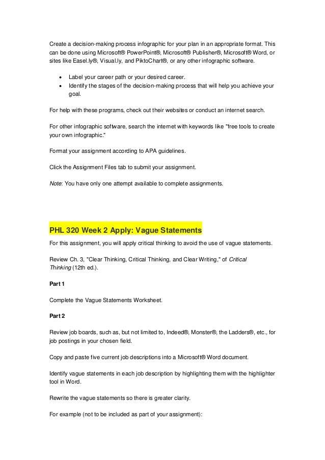 PHL 320 Week 1 Apply: Decision-Making Career Path Plan Phl 320 phl320