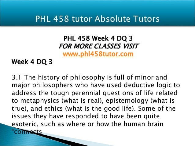 PHL 458 UOP Course Homework
