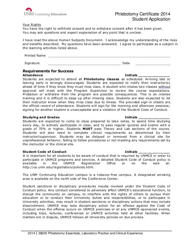 Phlebotomy Certificate Packet Unm Continuing Education