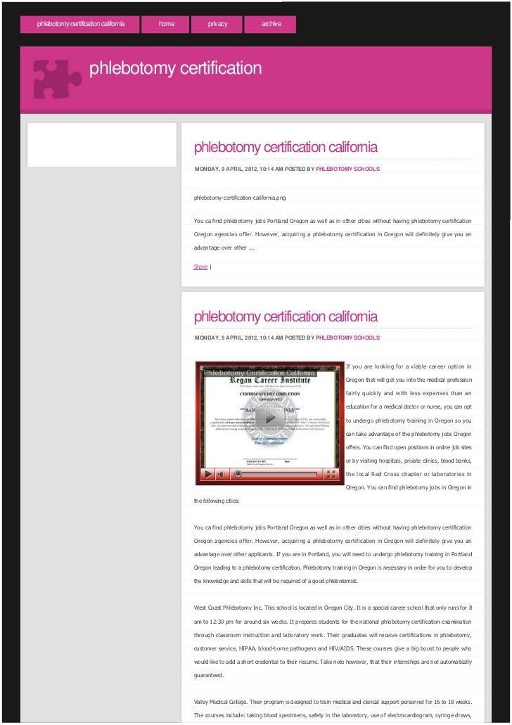 phlebotomy certification california slideshare upcoming