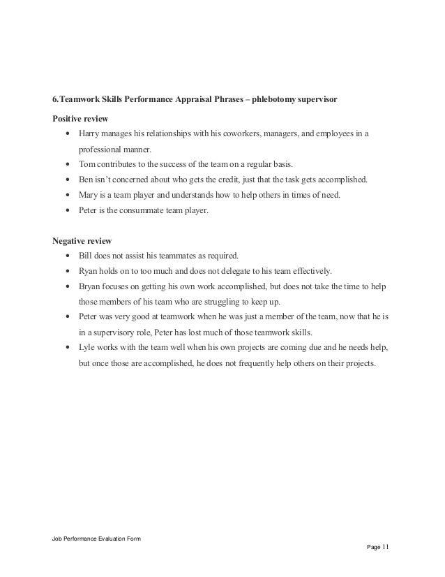 phlebotomy supervisor performance appraisal