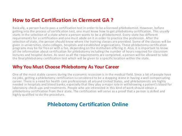 Phlebotomy Training in Clermont Georgia - Top Phlebotomy Classes Geor…