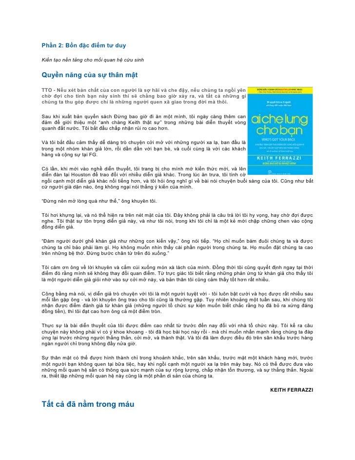 Phần 2: Bốn đặc điểm tư duyKiến tạo nền tảng cho mối quan hệ cứu sinhQuyền năng của sự thân mậtTTO - Nếu xét bản chất của ...