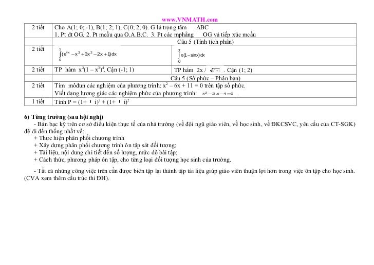 www.VNMATH.com   2 tiết   Cho A(1; 0; -1), B(1; 2; 1), C(0; 2; 0). G là trọng tâm ABC                                     ...
