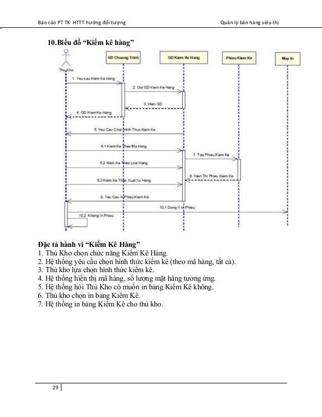 """Báo cáo PT TK HTTT hướng đối tượng Quản lý bán hàng siêu thị 10.Biểu đồ """"Kiểm kê hàng"""" Đặc tả hành vi """"Kiểm Kê Hàng"""" 1. Th..."""