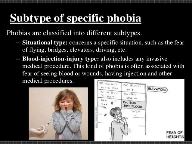 Examples  Acrophobia-fear of heights  Hematophobia- blood  Claustrophobia- closed places  Gamophobia- marriage  Insec...
