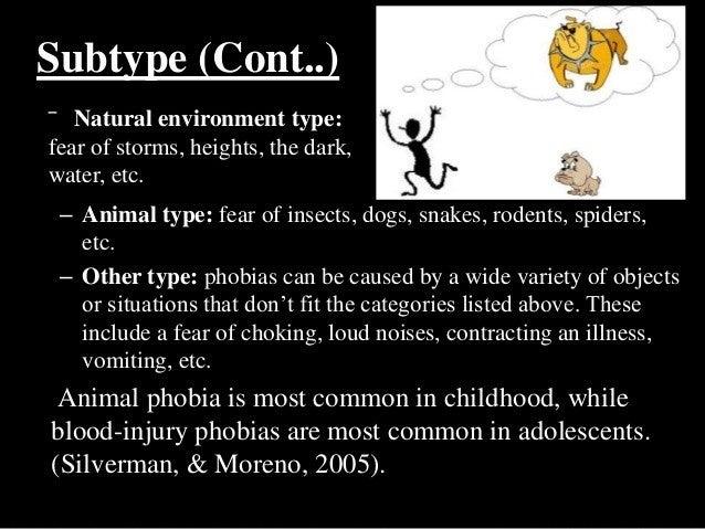  Ailurophobia: cats  Algophobia: pain  Anthophobia: flower  Anthrophobia: people  Aquaphobia: water  Arachnophobia: ...
