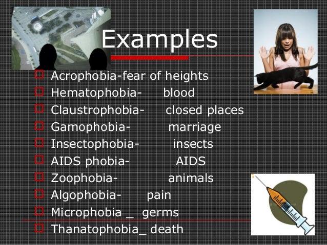  Cynophobia: dogs  Dementophobia: insanity  Equinophobia: horses  Gamophobia: marriage  Herpetophobia: lizards  Muro...