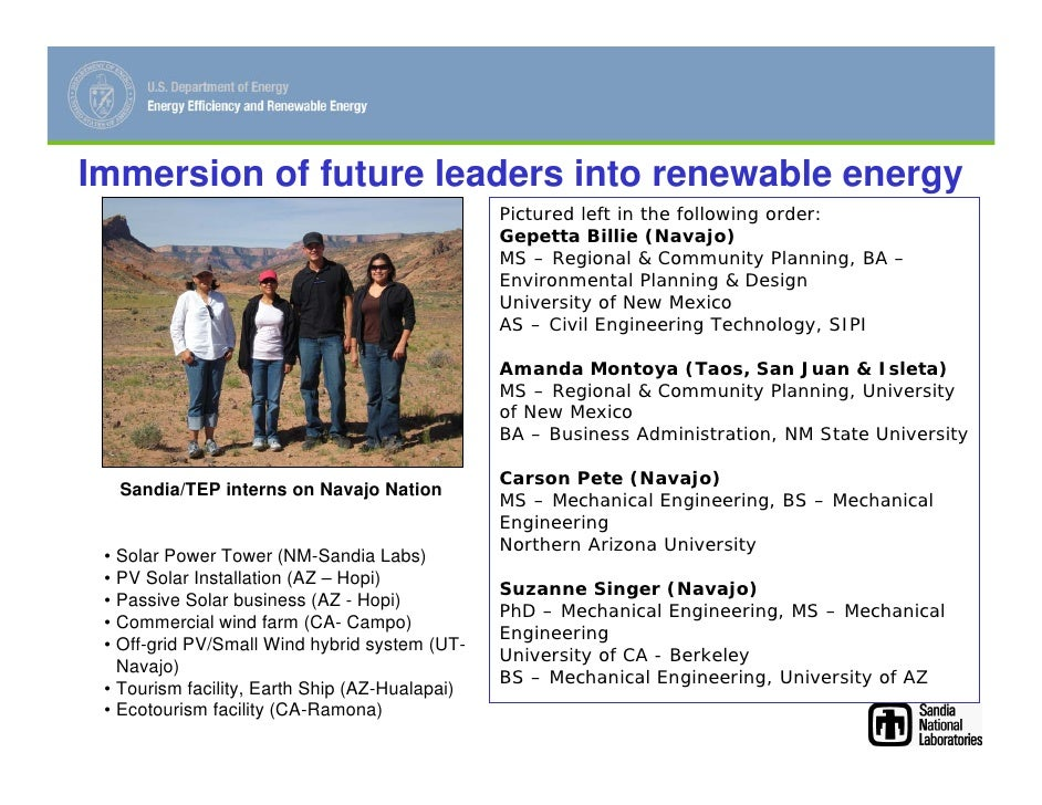 Immersion of future leaders into renewable energy                                                 Pictured left in the fol...
