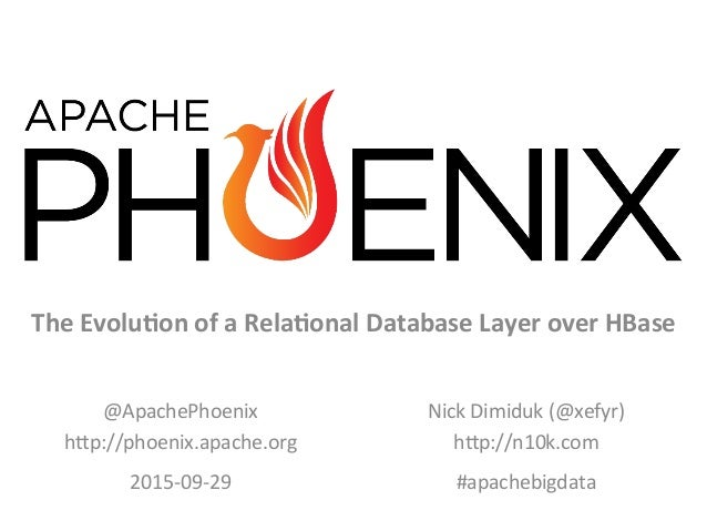 V5	    The	   Evolu*on	   of	   a	   Rela*onal	   Database	   Layer	   over	   HBase	    @ApachePhoenix	    h0p://phoenix....