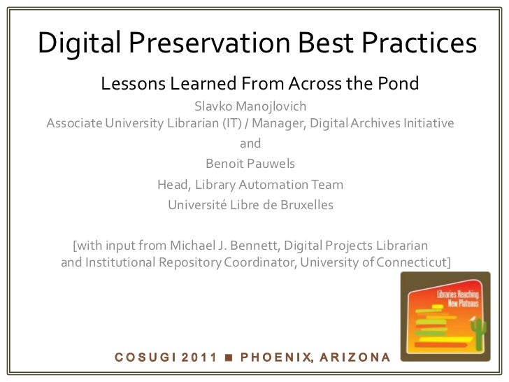 Digital Preservation Best PracticesLessons Learned From Across the Pond<br />Slavko ManojlovichAssociate University Librar...