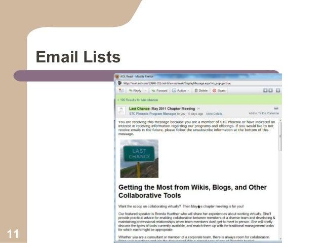 Email Lists  11  Collaboration Workshop