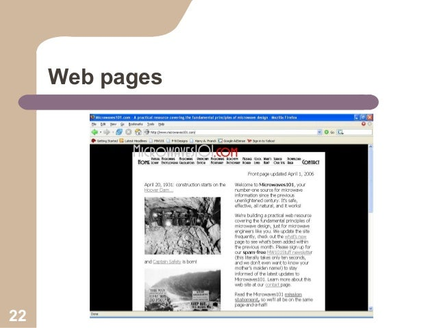 Web pages  22
