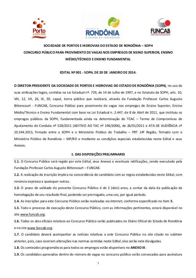 SOCIEDADE DE PORTOS E HIDROVIAS DO ESTADO DE RONDÔNIA – SOPH CONCURSO PÚBLICO PARA PROVIMENTO DE VAGAS NOS EMPREGOS DE NSI...