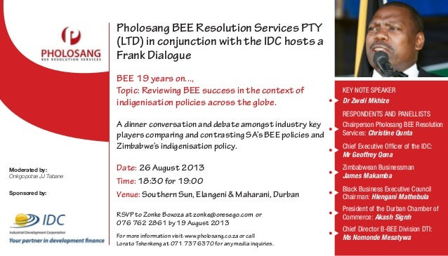 Pholosang BEE Resolution Services PTY (LTD) in conjunction with the IDC hosts a FrankDialogue BEE 19 years on..., Topic: ...