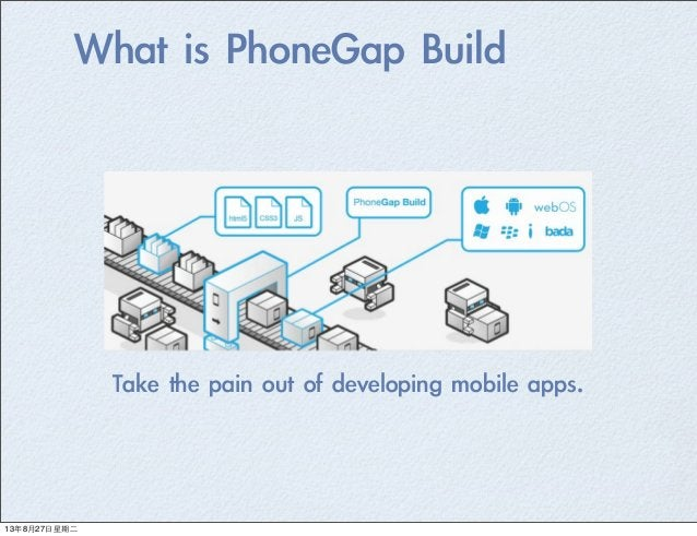 What is PhoneGap Build Take the pain out of developing mobile apps. 13年8月27⽇日星期⼆二