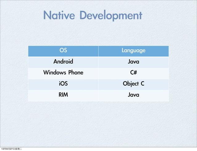 OS Language Android Java Windows Phone  C# iOS Object C RIM Java Native Development 13年8月27⽇日星期⼆二