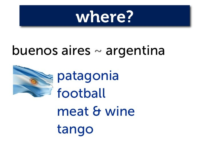 where?buenos aires ~ argentina       patagonia       football       meat & wine       tango
