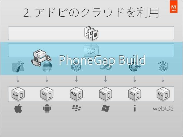 2. アドビのクラウドを利用  PhoneGap  SDK  PhoneGap Build ipa  apk  OTA  xap  wgz  ipk