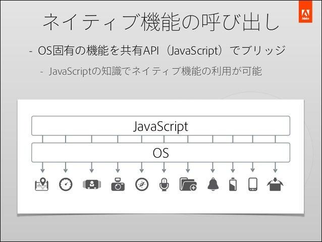 ネイティブ機能の呼び出し - OS固有の機能を共有API(JavaScript)でブリッジ - JavaScriptの知識でネイティブ機能の利用が可能  JavaScript OS