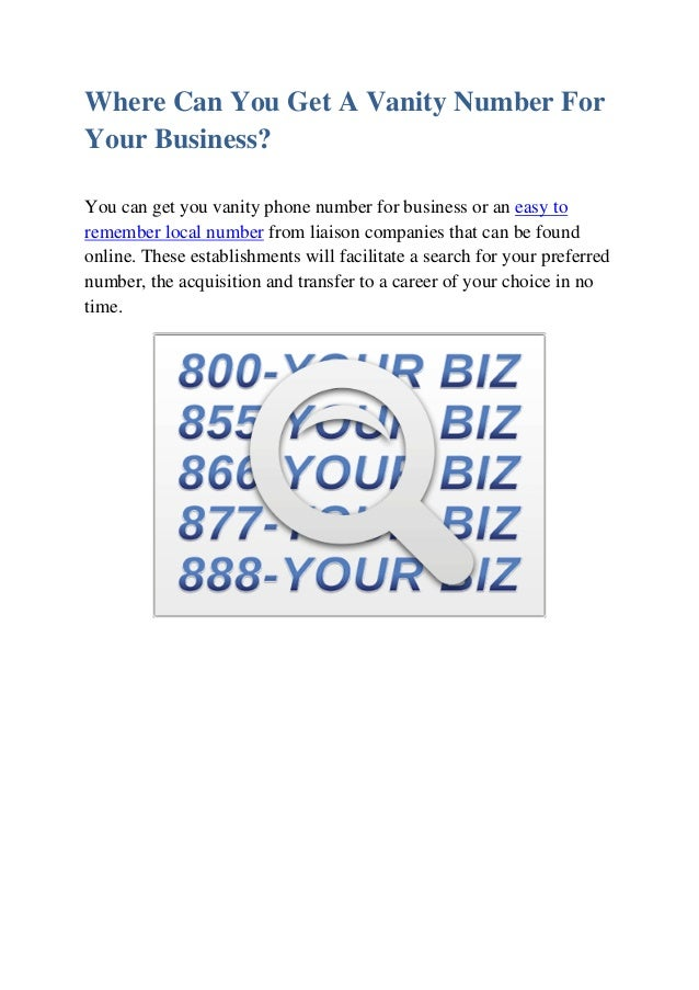 3. Where Can You Get A Vanity Number ...
