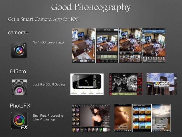 Good Phoneography Get a Smart Camera App for iOS camera+ 645pro PhotoFX No 1 iOS camera app Just like DSLR Setting Best Po...