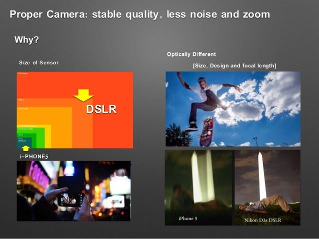 Proper Camera: stable quality, less noise and zoom Why? DSLR i-PHONE5 Size of Sensor Optically Different [Size, Design and...