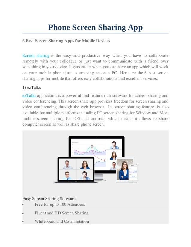 Phone screen sharing app