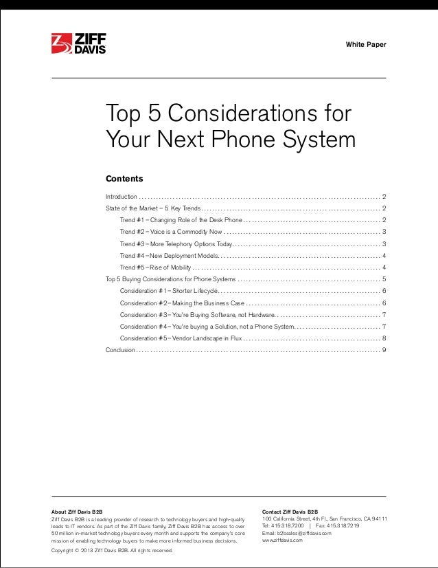 ®  White Paper  ®  Top 5 Considerations for Your Next Phone System Contents Introduction.  .  .  .  .  .  .  .  .  .  .  ....
