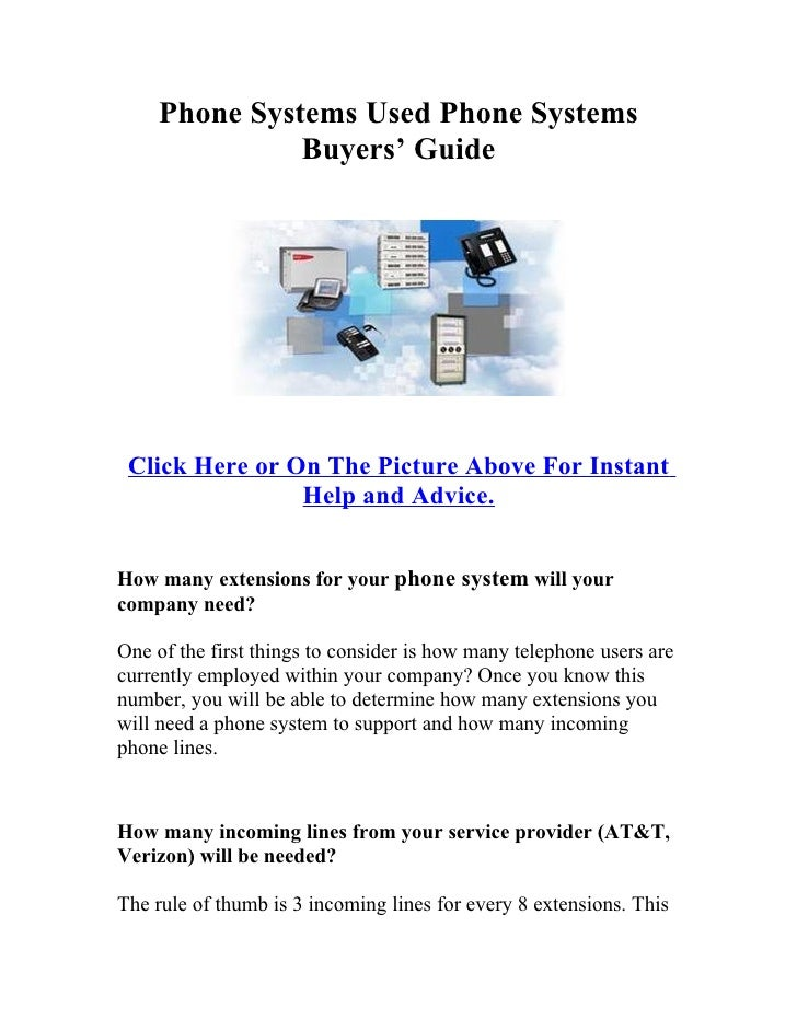 Phone Systems Used Phone Systems                Buyers' Guide      Click Here or On The Picture Above For Instant         ...