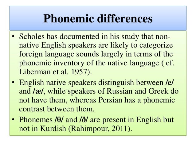 Phonetic and phonological transfer